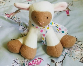 "Little Lamb plush, cuddly lamb toy, baby safe, 9"" - Ready To Ship"