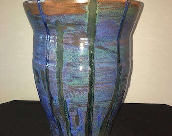 Tall Blue and Green vase