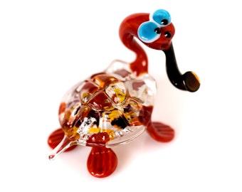 Hand Blown glass turtle figurine Collectible animal figurine reptile sculpture miniature glass turtle