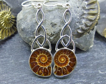 Celtic Trinity Drop, Madagascar Ammonite Earrings, 925 Sterling Silver, Two Skies, Highland Gems, Gift Her, Traditional Scottish (7423)