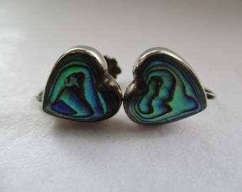 Sterling Silver Heart Shaped PAUA SHELL Clip-on EARRINGS, Shell Earrings, Shell Jewellery, Shell Jewelry
