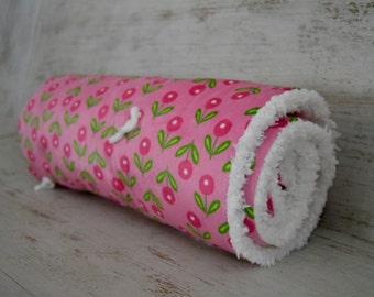 Soft, Cuddly, Pink Flower Print Minky Blanket, Pink~White, Baby Girl Blanket, Lovey Size