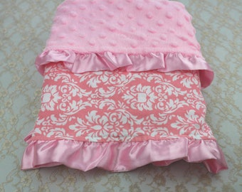 Baby blanket pink minky with dots, with baroque print on cotton and satin ruffles