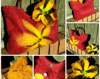 Hand felted red handbag with yellow/golden flower design