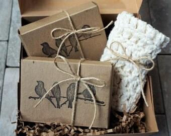 All Natural Soap and Handmade Crocheted Washcloth Gift Box Set, New Mom Gift, Natural Gift Set, Holistic Health, Pampering Gift Box