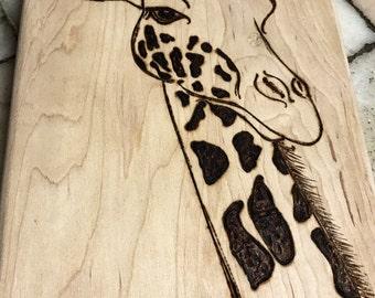 Giraffe Board, Chopping Board, Kitchen, Home, Gift, Giraffe Collectors, Animal Lovers, Giraffe Art, Wood Art, Pyography, Art, Maple Wood,