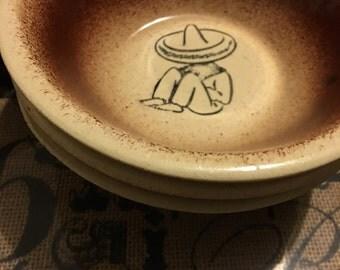 4 Vintage Athtex Chili Bowls- Sombrero Siesta Pattern