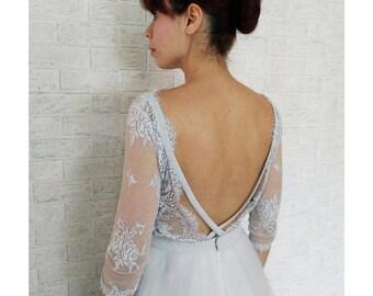 Grey tulle wedding gown, ECHO silk bridal gown, ecofriendly, lace dress, unconventional wedding dress, lace dress, colored wedding dress