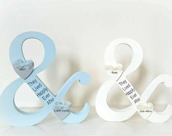 Handmade Wedding Ampersand , engagement gift, bride and groom, lived happily ever after, mr and mrs