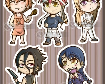 Shokugeki No Soma Stikers. Soma, Erina, Megumi, Kurokiba and Isshiki. Food Wars.