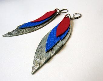 feather earrings, leather earring silver blue pink, Boho jewelry, Boho earrings, leather feathers, leather jewelry