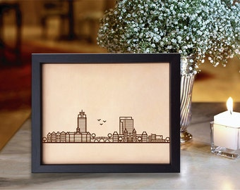Lik173 Leather Engraved Netherlands Amsterdam city view 3rd anniversary gift