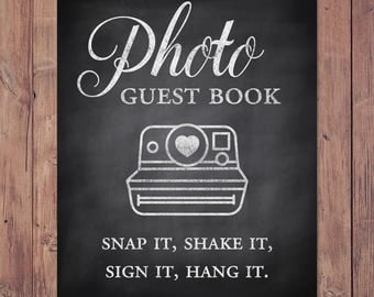 Photo guest book - snap it, shake it, sign it, hang it - rustic wedding guest book - 8x10 - 5x7