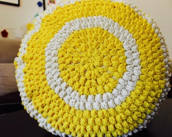 Lemon yellow/Off White Popcorn crocheted Round cushion and cushion cover