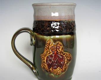 Large Handmade Ceramic Mug, Coffee Mug, Tea Mug, Wheel Thrown Mug, Pottery Mug, Clay Mug, Foodsafe Mug, Ladybug Mug, Green Mug, Kitchenware