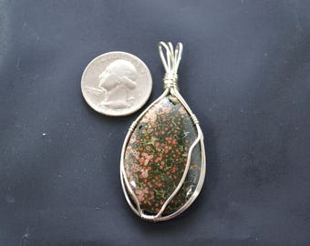 Ocean Jasper wire wrapped pendent
