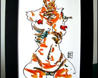 Original drawing - indian ink - ink - paper - single work