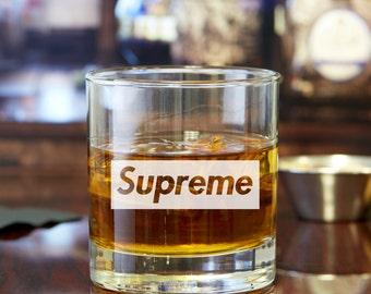 2pcs - Supreme - Engraved Whiskey Glasses - Rocks Glasses
