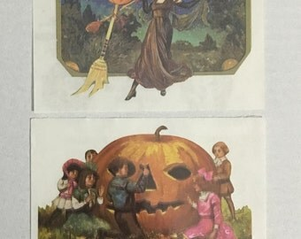 Vintage Sandylion Sticker Set.  Pumpkins, Witch, Halloween, Victorian