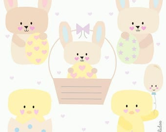Easter Clipart - Cute Easter Clipart - Cute Rabbit Clipart - Easter Bunny Graphics - Kawaii Bunny Clipart- Commercial Use - Instant Download