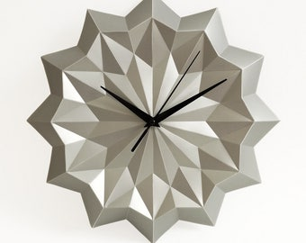 Sliver origami clock, wall clock without numbers, elegant modern home decor