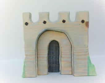 Castle stacker. Waldorf wooden toy.