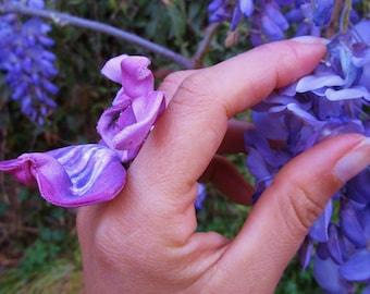 rare botanical jewel Orchid purple pink floral ring romantic handmade