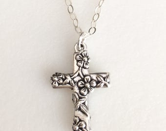 Cross Necklace, Floral Cross, Easter Necklace, Religious Christian Cross, Catholic Cross, Faith Cross, Cross Jewelry, Sterling Silver