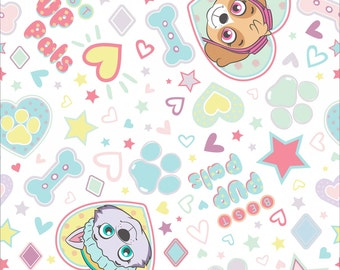 Paw Patrol Pup Pals 4Ever White Flannel PW41536FCW2 =  Nick nickelodeon cotton printed flannel kids girls skye everest by the yard  metre