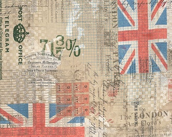 Tim Holtz Correspondence Royal Mail - brown neutral flag fabric quilting cotton neutral material yard metre PWTH054.8NEUT