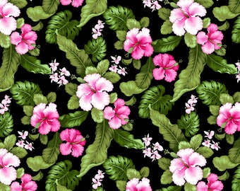 Tropical Hibiscus Poplin cotton fabric from David Textiles PT80038J7 floral woven quilting black pink green by the yard metre
