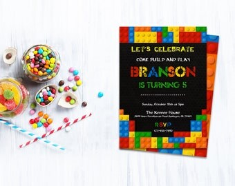 Lego party,INSTANT DOWNLOAD - Edit Yourself in Word. Template Editable Text Microsoft Word.DIY You Print.