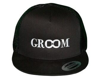 GROOM Snap-Back Trucker Hat, Groom Hat, Groom Gift, Snap Back Hat, Wedding Hat, Groomsmen Gifts, Best Man Present, Groom Trucker Hat