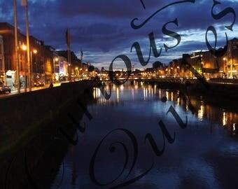 The River Liffey Dublin Ireland Photo at Night