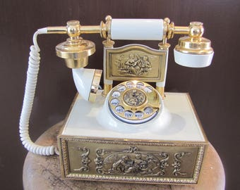 Vintage Rotary Style Telephone Brass Gold & Rotary Phone American Telecommunications Rotary Old Telephone Decor