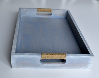 Large Breakfast Tray - Large Tray - Wood Serving Tray - Blue Wooden Tray - Shabby Chic Tray - Blue Tray - Decorative tray - Decoupage Tray