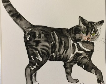 Cats - For Cat Lovers.  SALE - Charming Original Watercolour and Pen and Ink illustration of a TABBY CAT.