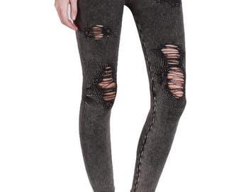 Vintage Destroyed Ripped Leggings - Charcol Leggings