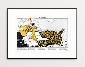 The Awakening by  Hy Mayer, 1915 - Women's Suffrage - Feminist Art - Feminism Wall Art - Giclee Print - Liberty - Women's Rights - Vintage