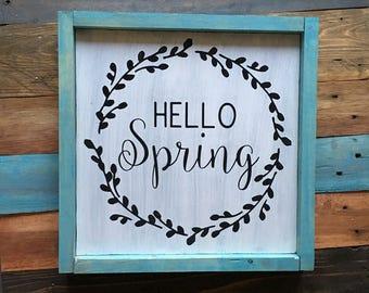 Hello Spring Sign, Spring Wood Sign, Wreath Sign, Spring Decor, Aqua frame, rustic distressed farmhouse.