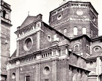 60s Italian Travel Postcard Duomo Church Pietro Rogoni Pavia Italy Real Photo Black & White Vintage Retro Cars Deckled Edges