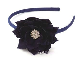 Navy Girls Headband, Girls Navy Blue Flower Headband, Toddler Headband, Flower Girl Headband, Satin Hard Headband, Womens Headband