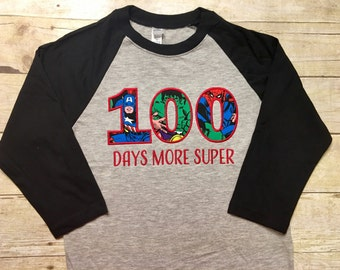 100 days of school shirt, superhero school shirt, superhero teacher shirt, student shirt, 100 days more super, 100th day boys and girls
