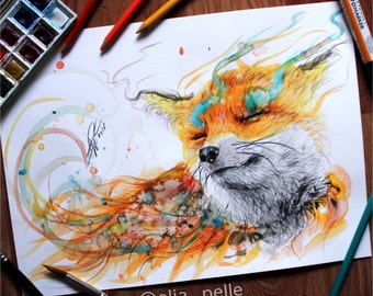 Wild soul - Signed print - surreal animal drawing