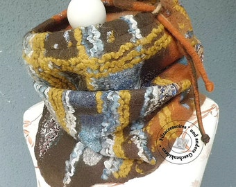 """Scarf felted Merino """"PatchColor"""" designer scarf gift women original gifts of warm scarf Brown"""