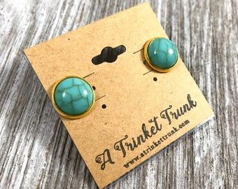 Turquoise Stone Earrings- Stainless Steel Studs- turquoise and gold