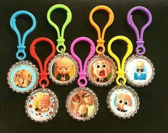 Boss Baby Bottle Cap Zipper Pulls,7 bottle cap zipper pulls set.Boss Baby themed party