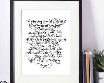Godparent print  A4 | hand lettered print | Home decor | Christening poem | Baptism | Godmother | Hand written quote | Meaningful gift