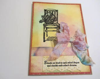 Shabby Chic Card/Vintage-Look Friend Card/Distressed Cottage Chic Friend Card/Wife, Mother, Birthday, Friend, Anniversary, Any Occasion Card