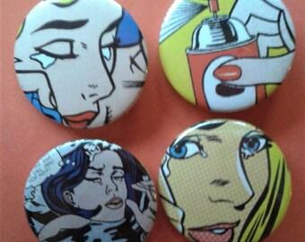 Set of 4 25mm pop art Lichtenstein badges
